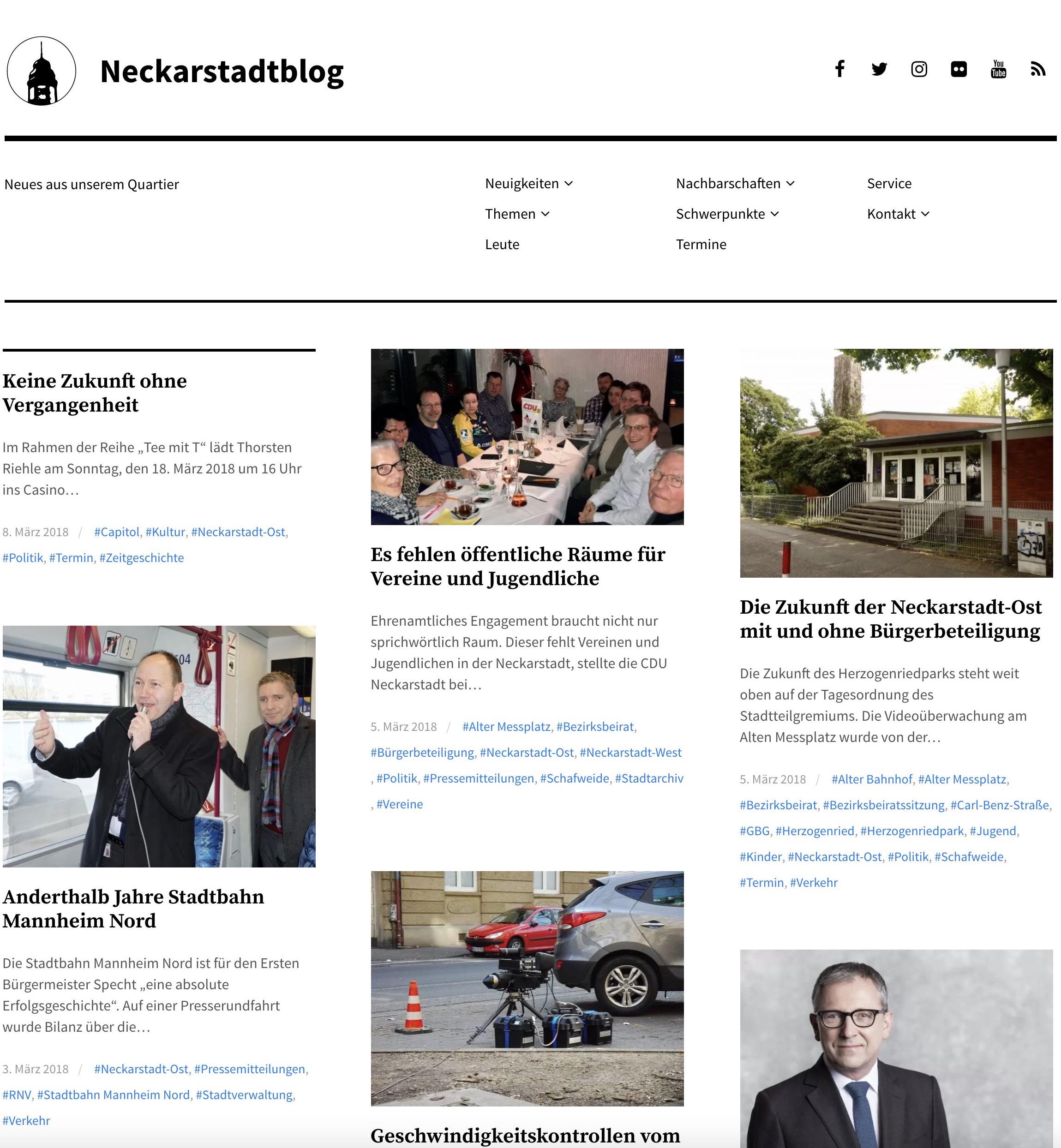Neckarstadtblog Screenshot vom 8. März 2018